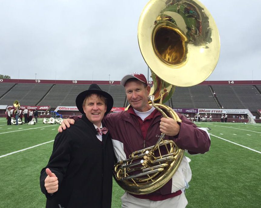 UMass Band director Tim Anderson and John Currey at rehearsal of the 50th Alumni Band at 2016 Homecoming.