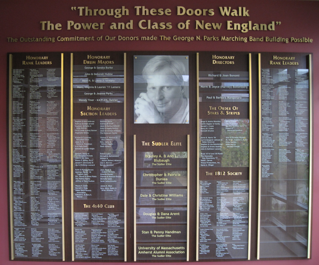 UMass Band Building Donor Wall