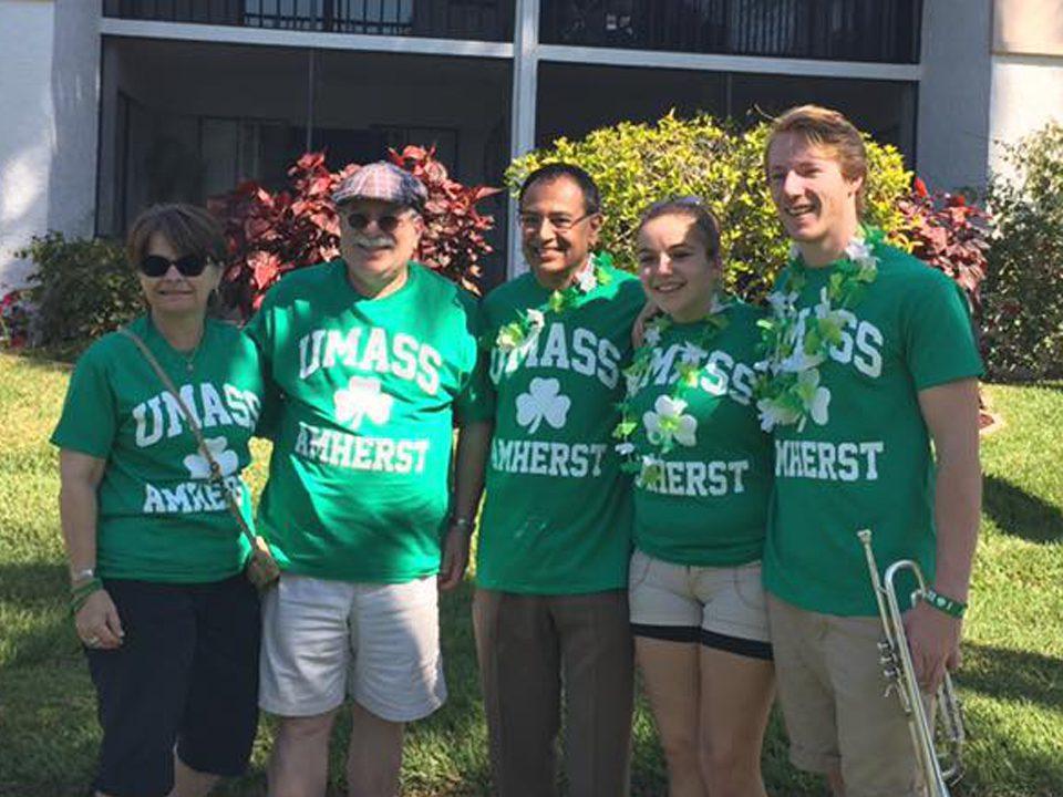 UMass bandos and alumni at 2017 Naples St. Patricks Day Parade
