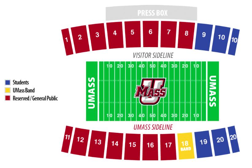 UMass McGuirk stadium map 2017