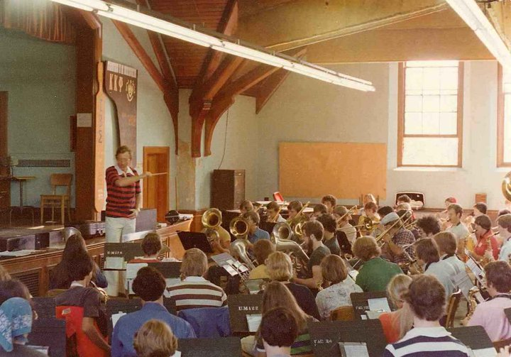 Band rehearsing in Old Chapel auditorium with Dr. John Jenkins