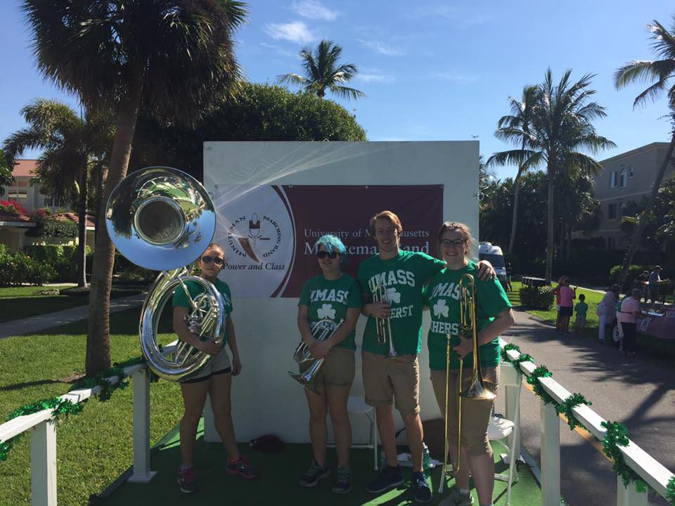 UMass bandos in the 2017 Naples St. Patrick's Day Parade