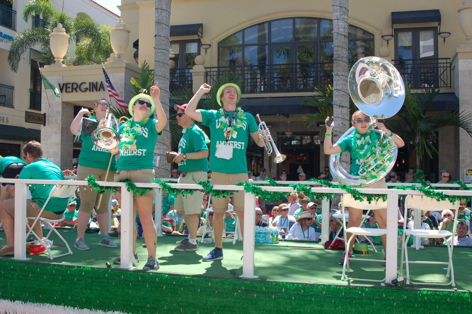 Band members performing on Naples Parade float